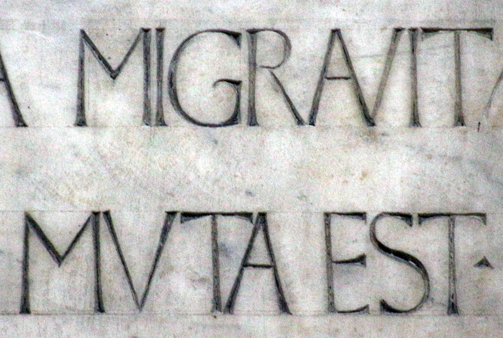 Fig. 26. Detail of the inscription on the Monument to Leonardo Bruni. Photograph by Paul Shaw (2015).