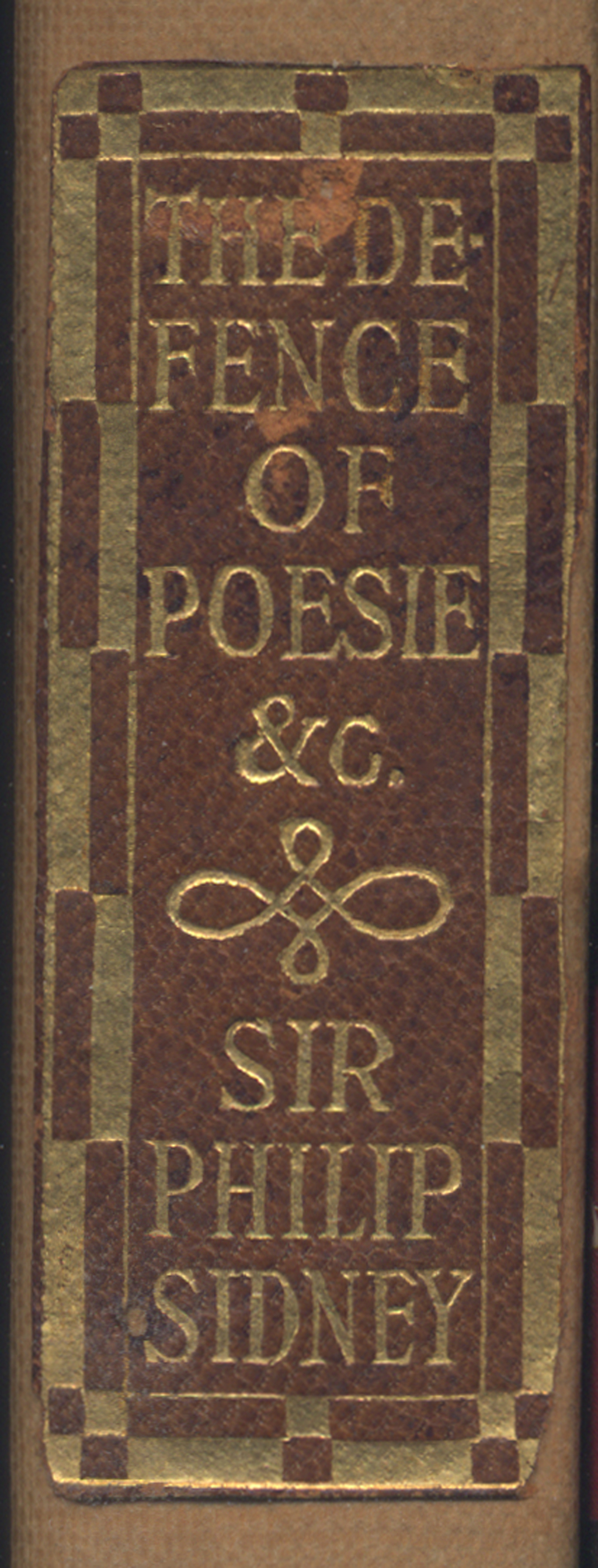 Label for spine of The Defence of Poesie, etc. by Sir Philip Sidney (Boston: The Merrymount Press, 1908). Lettering by W.A. Dwiggins.