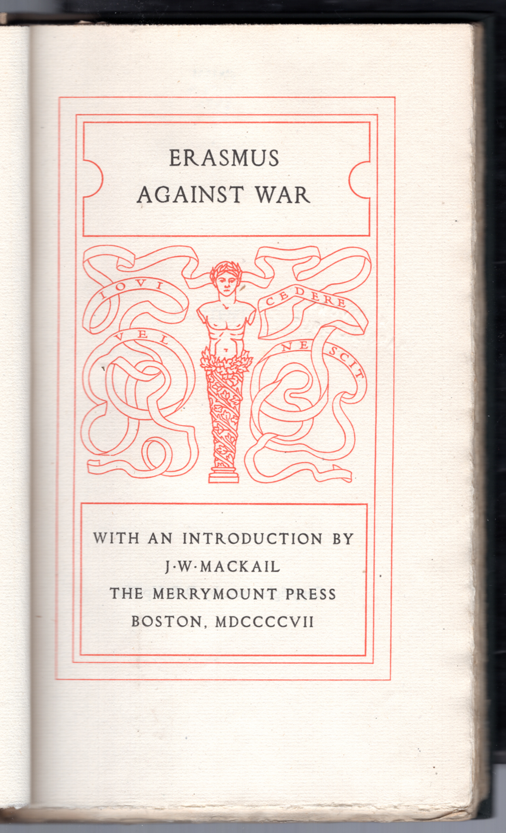Title page of Against War by Erasmus (Boston: The Merrymount Press, 1907). Frame by W.A. Dwiggins.