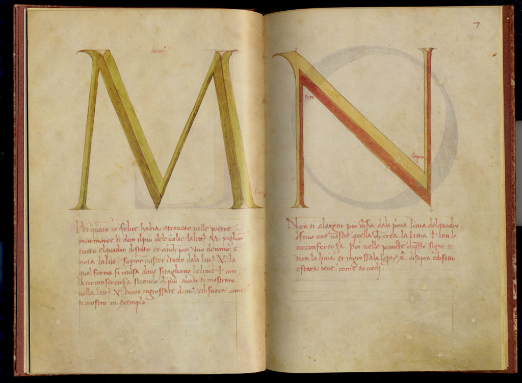 Fig. 19. M-N spread from Alphabetum Romanum by Felice Feliciano. Courtesy of Belser Verlag.