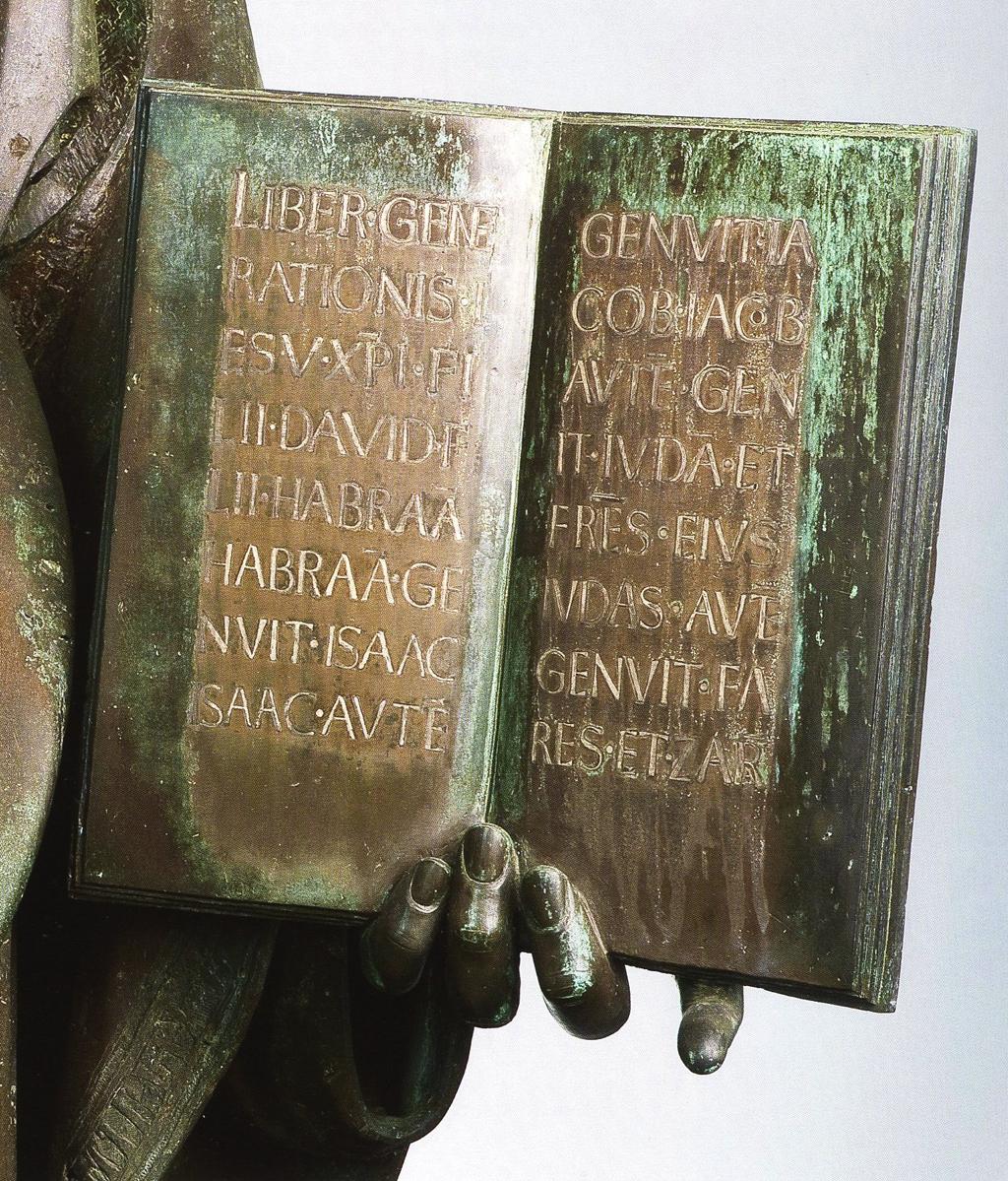 Detail of Statue of St. Matthew by Lorenzo Ghiberti. Note the Florentine Sans serif capitals.