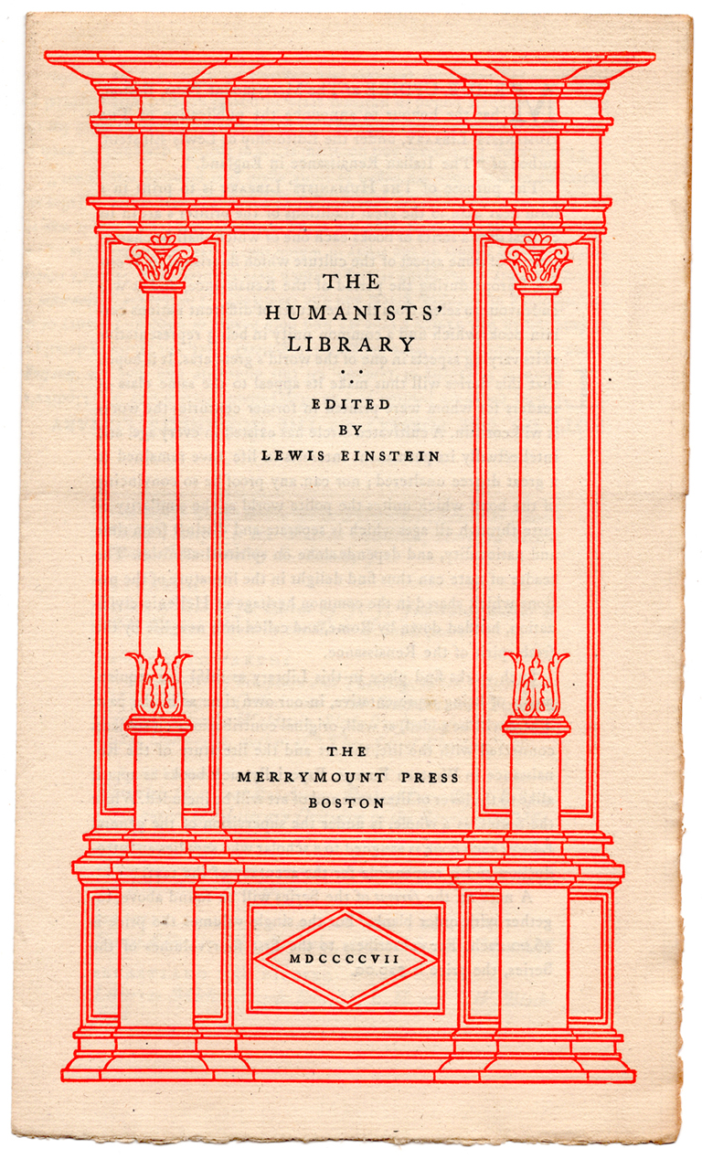 Cover of circular for The Humanists' Library (1917).