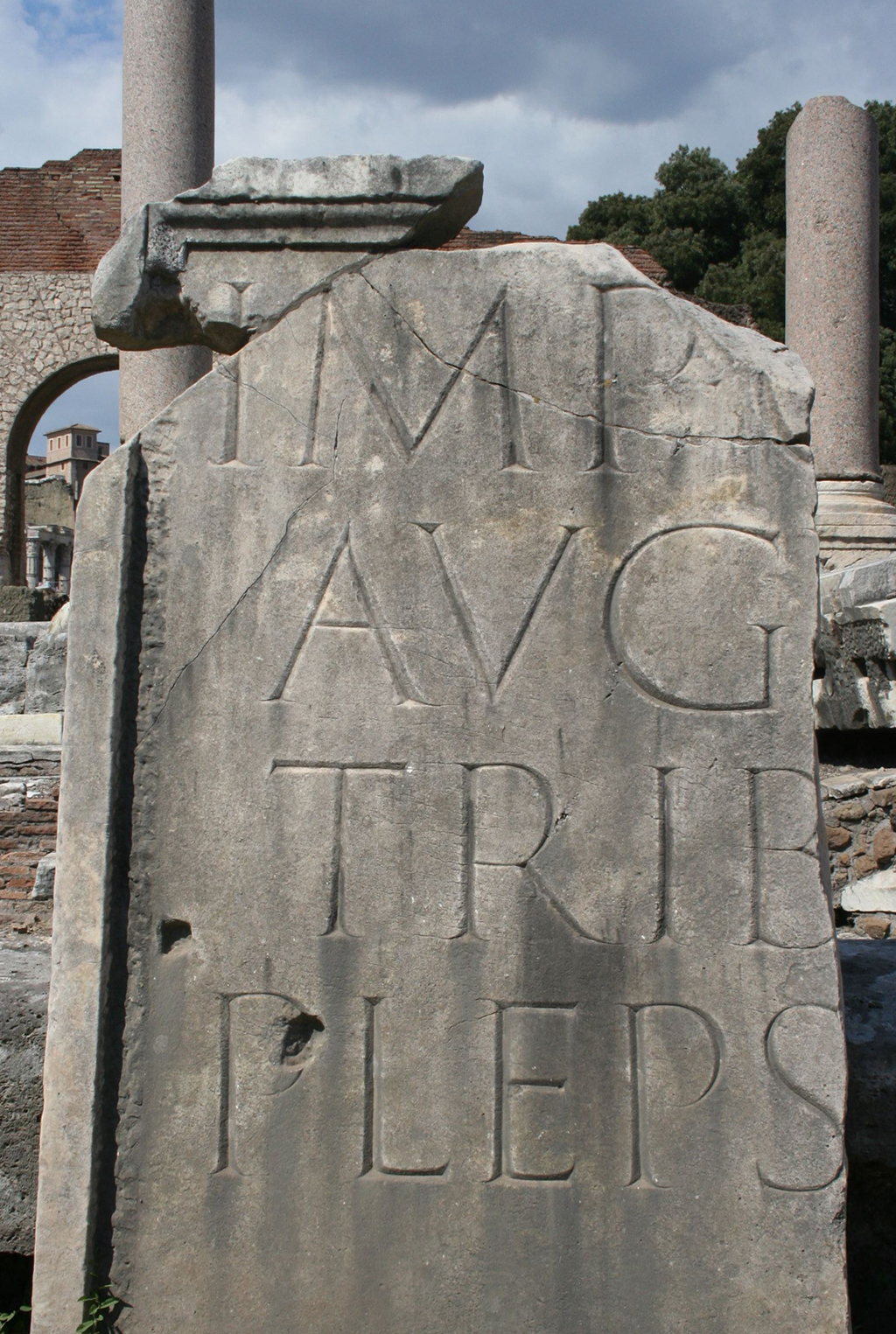Fragment of Imperial inscription in the Foro Romano. Photograph by Paul Shaw (2007).