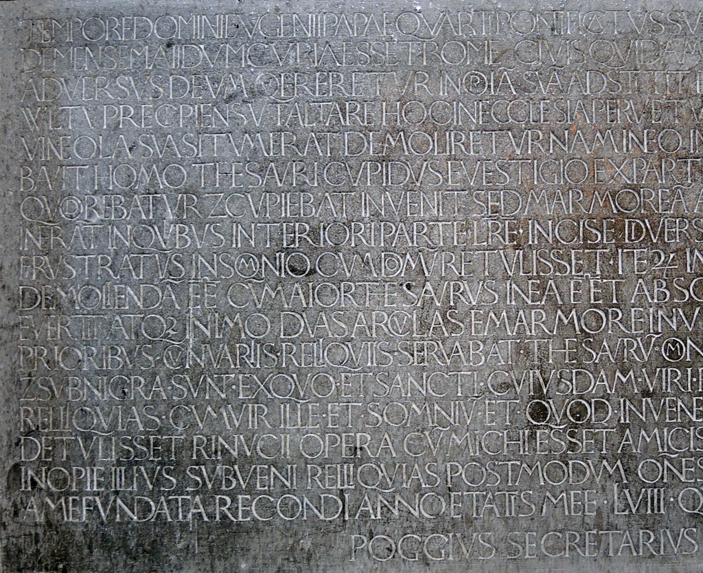 Fig. 3. Poggio inscription, left side from lines 1–18. Photograph by Bronwen Job (2014).