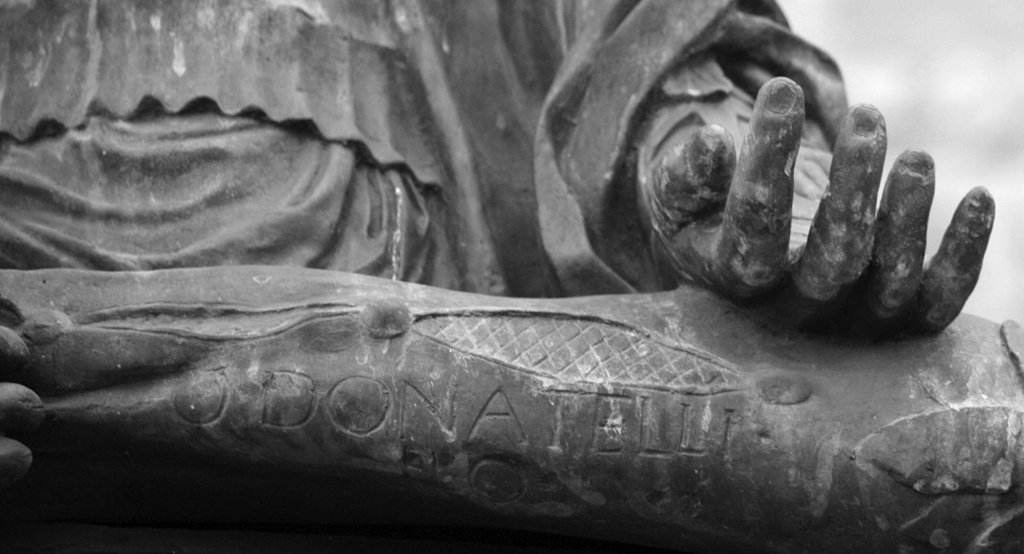 Fig. 18. Signature of Donatello on the pillow of the Statue of Judith and Holofernes (1457–1464) in Florence.