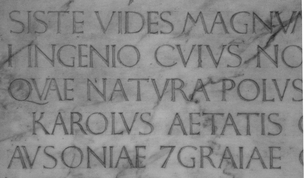 Fig. 24. Detail of the inscription on the Monument to Carlo Marsuppini. Photograph by Paul Shaw (2015).
