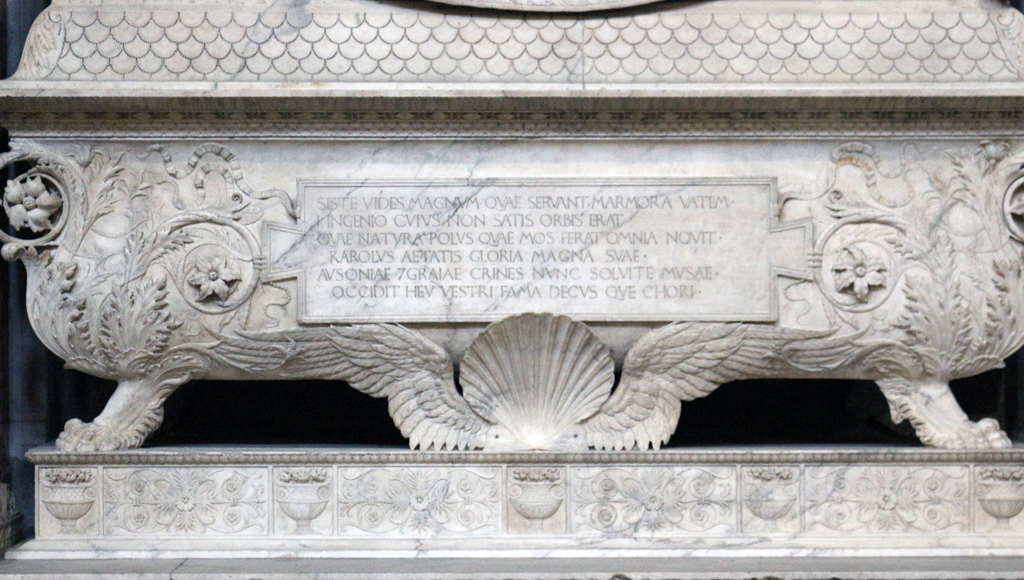 Fig. 23. Inscription on the Monument to Carlo Marsuppini (1454–1459) by Desiderio Settignano in S. Croce (Florence). Photograph by Paul Shaw (2015).