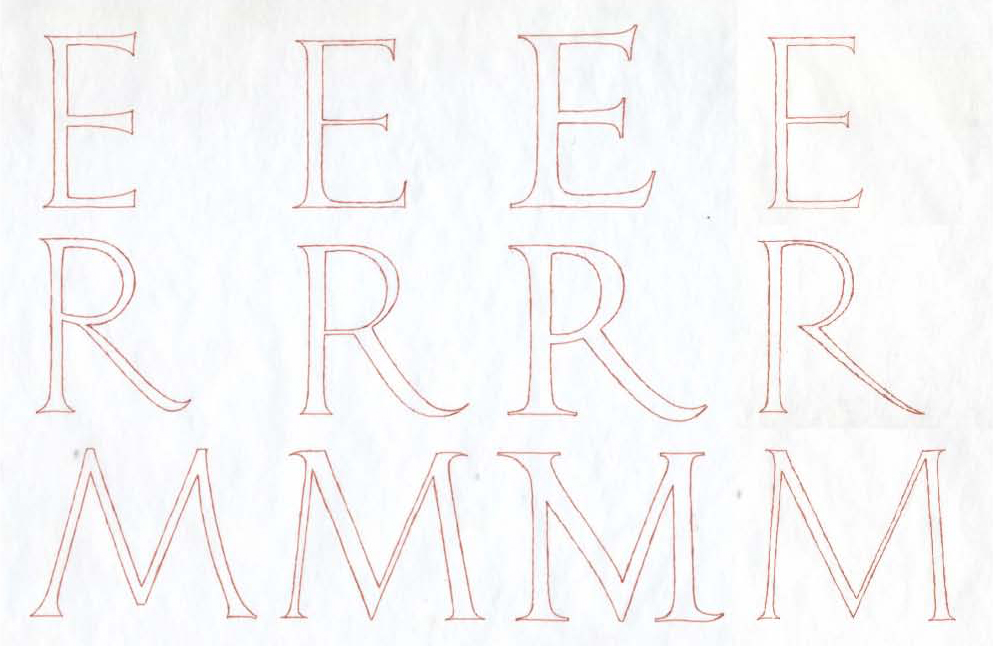 Fig. 22. Drawing of key letters from Tomb of Martin V (far left), Alphabetum Romanum (2nd from left), Tomb of Ludovico d'Albret (3rd from left), and Sepolcro Rucellai (right). Drawings made from a combination of photographs and rubbings by Paul Shaw.