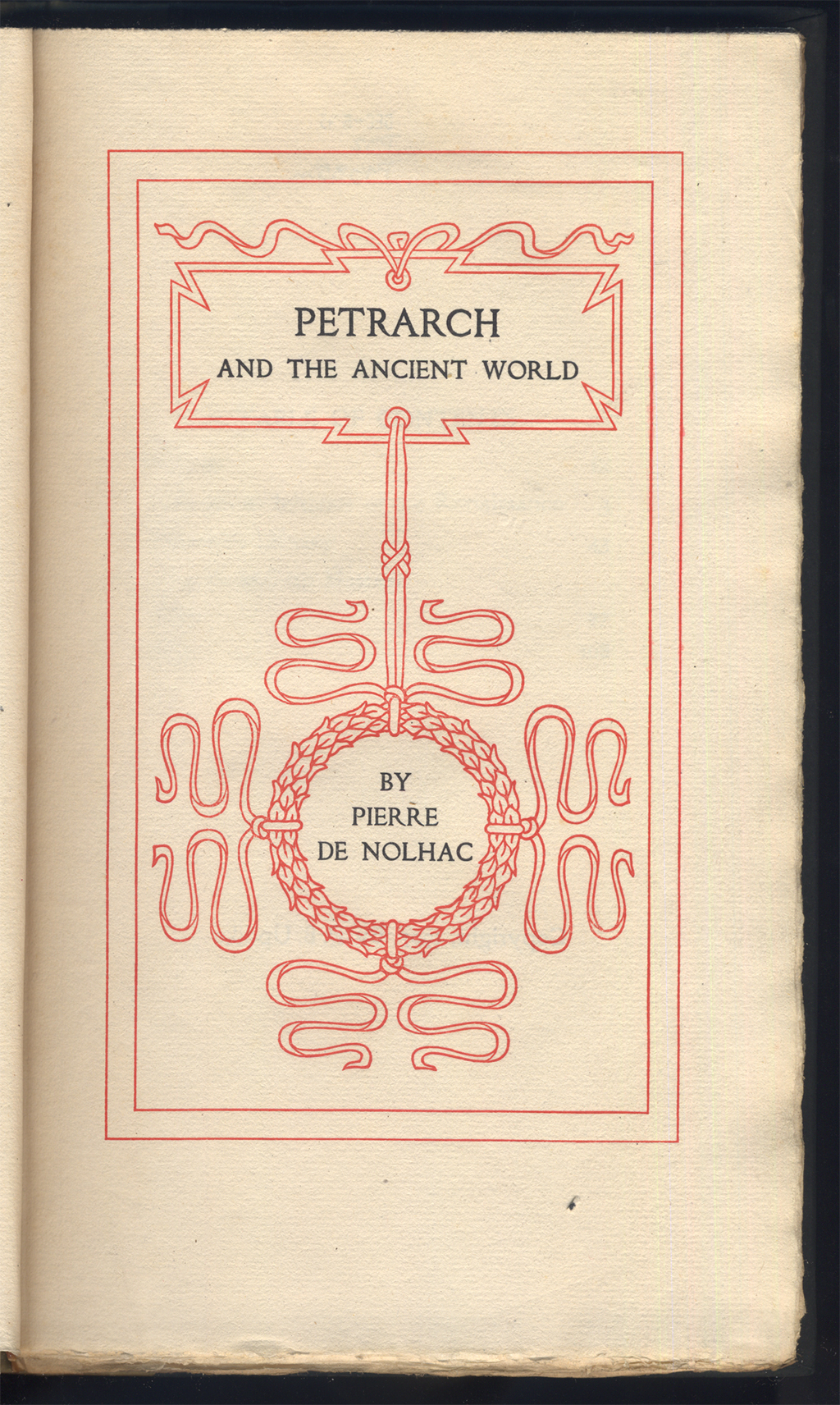 Title page of Petrarch and the Ancient World (Boston: The Merrymount Press, )