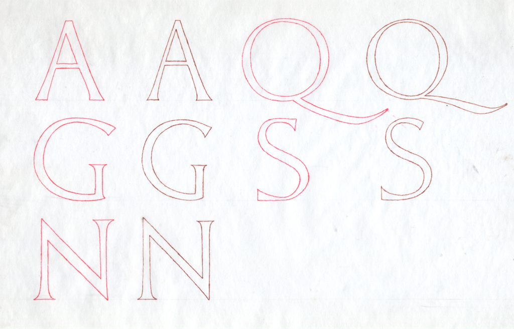 Fig. 28. Drawing of letters from Poggio inscription (red) and Marsuppini inscription (brown). Drawing based on photographs by Paul Shaw.