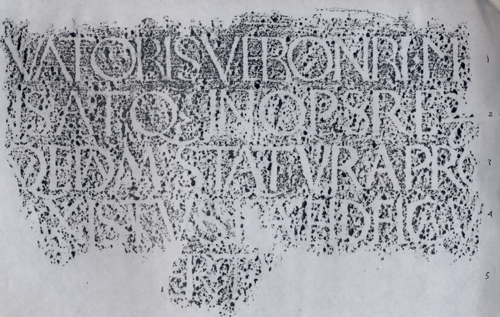 Fig. 32. Rubbing of part of the Poggio inscription (lines 1–5) by Paul Shaw and Monica Dengo (2007).