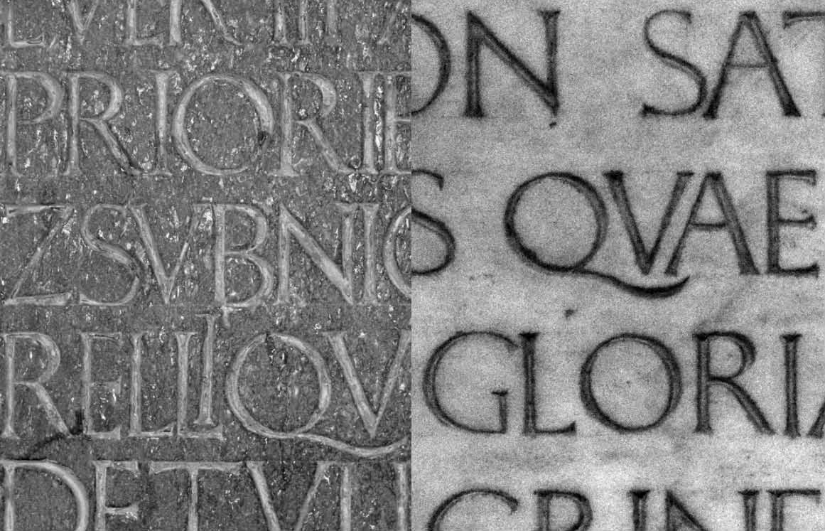 Fig. 32. Details of the Poggio inscription and the Marsuppini inscription. Photographs by Paul Shaw (2007 and 2015).