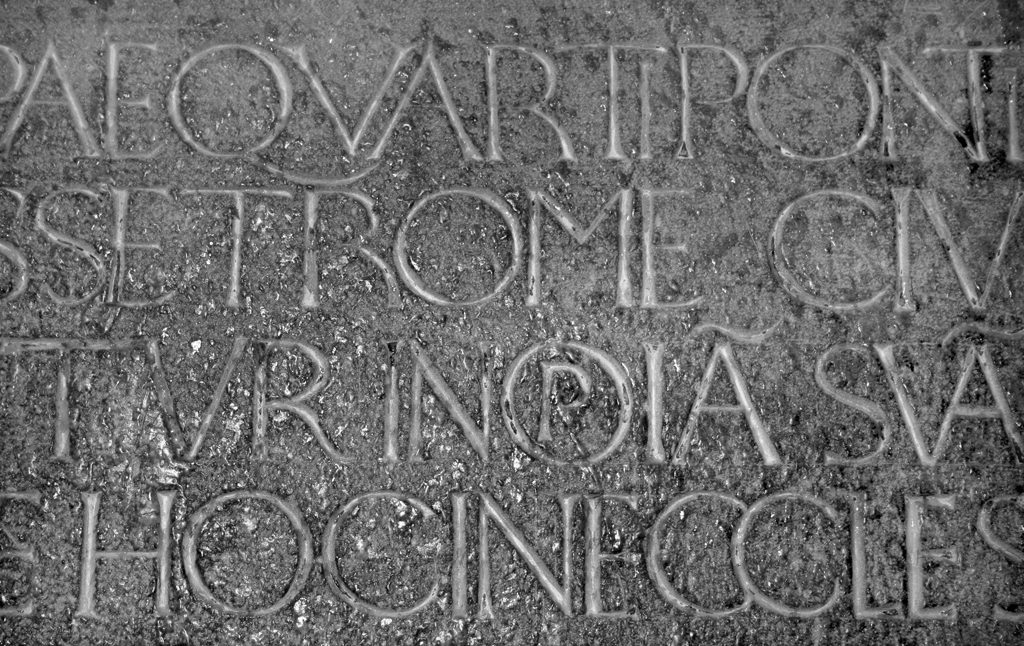 Fig. 11. Detail of Poggio inscription (lines 1–4). Photograph by Monica Dengo (2007).
