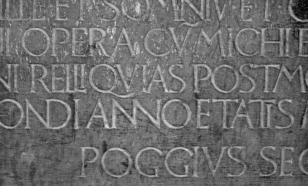 Fig. 13. Detail of Poggio inscription (lines 15–18). Photograph by Paul Shaw (2007).