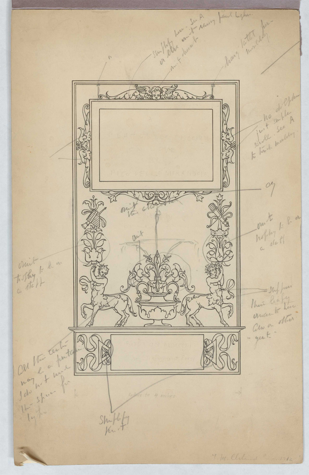 Pen and ink sketch for proposed frame for The Humanists' Library title. 1912?