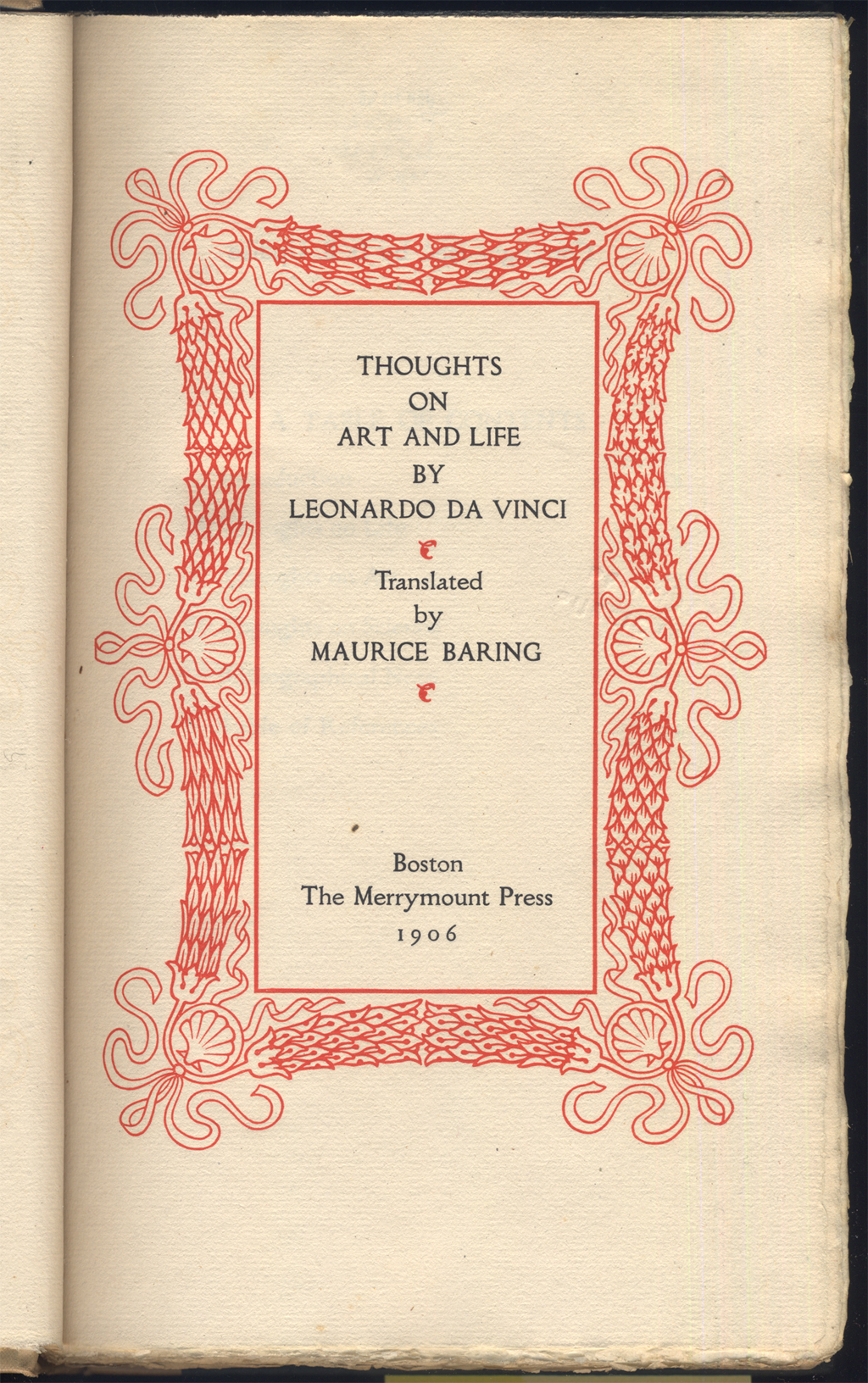 Title page for Thoughts on Art & Life by Leonardo da Vinci (Boston: The Merrymount Press, 1906). Frame design by T.M. Cleland.
