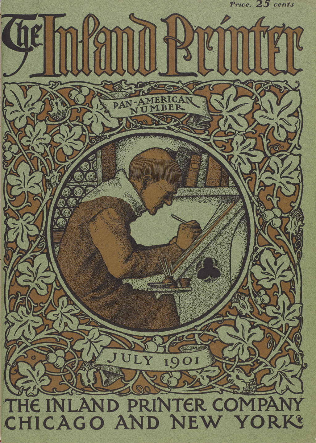 Cover of The Inland Printer (July 1901). Illustration by W.A. Dwiggins; lettering and decorative border by Frederic W. Goudy.