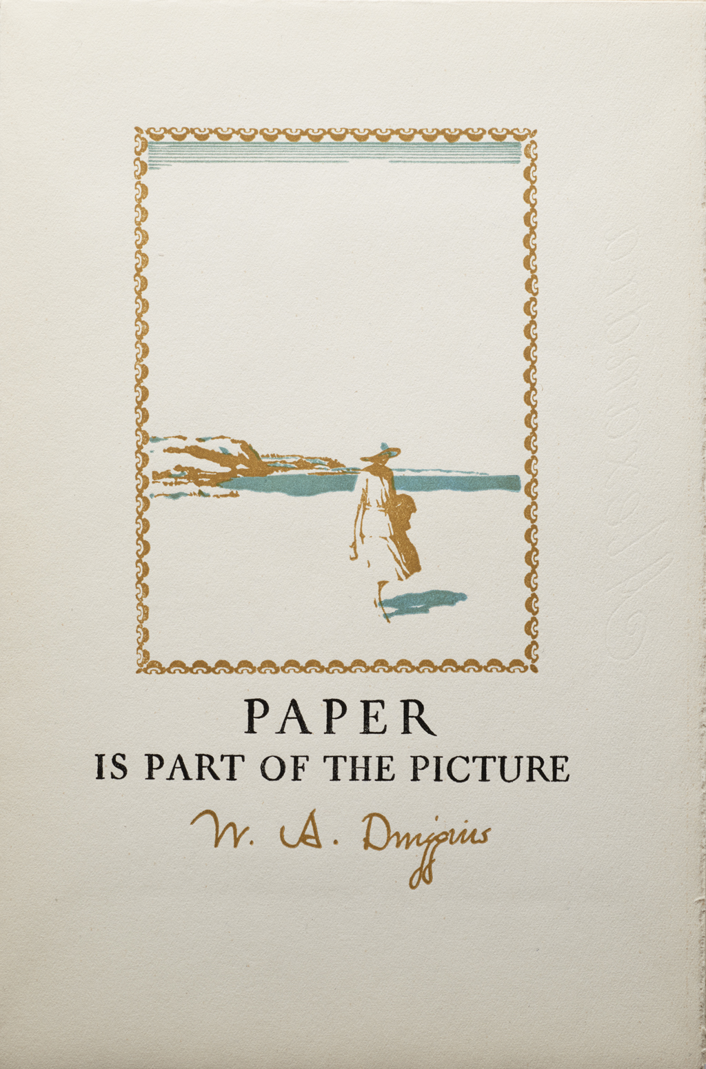 "Cover of brochure ""Paper Is Part of the Picture"" for Strathmore Paper Company. (1923). Design, illustration and lettering by W.A. Dwiggins."