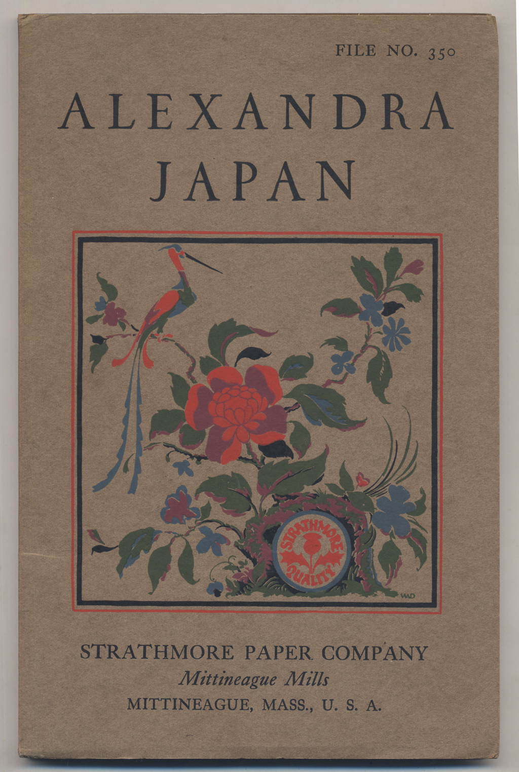 Cover of Alexandra Japan paper specimen for Strathmore Paper Co. Design, illustration and lettering by W.A. Dwiggins.