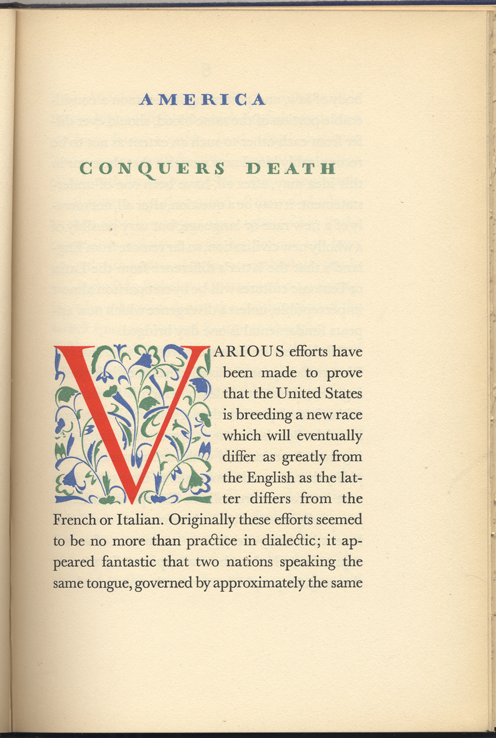 Opening page from America Conquers Death by Milton Waldman (Mount Vernon, New York: William E. Rudge & Son, 1928). Initial, lettering and typography by W.A. Dwiggins.