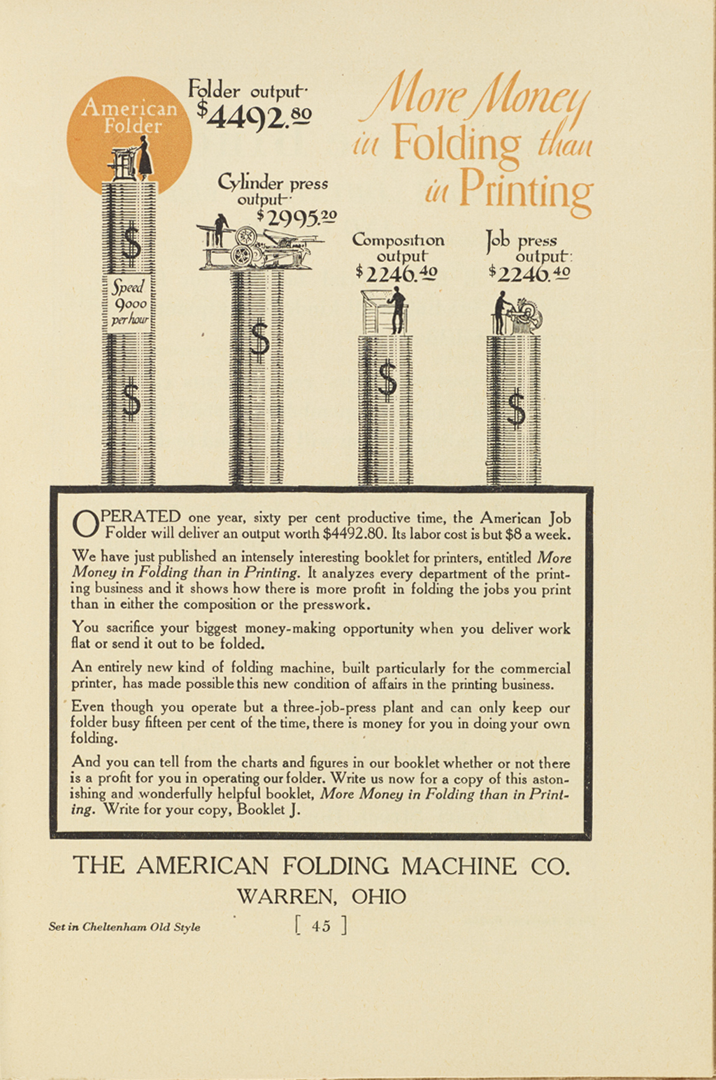 Advertisement for American Folding Machine Co. Lettering, illustration and typography by W.A. Dwiggins.