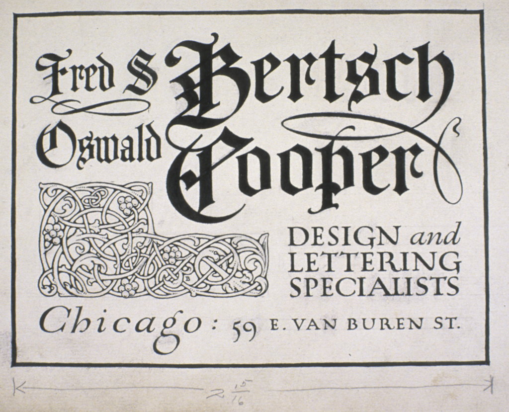 Announcement card for Bertsch & Cooper (c.1906). Lettering by Oswald Cooper; decoration by Fred Bertsch.