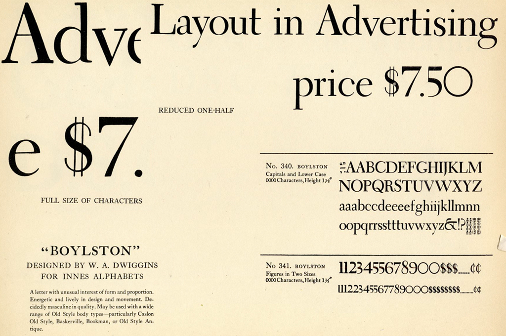 Boylston (Innes Alphabets). Typeface by W.A. Dwiggins (1929).