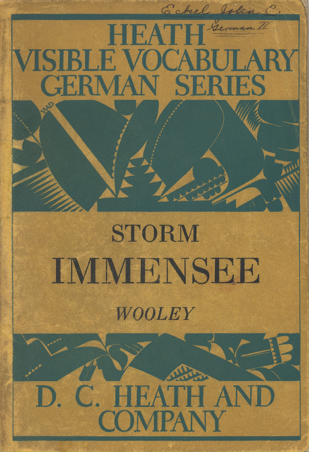 Cover of Immensee (Storm) from the Heath Visible Vocabulary Series. Design by W.A. Dwiggins.
