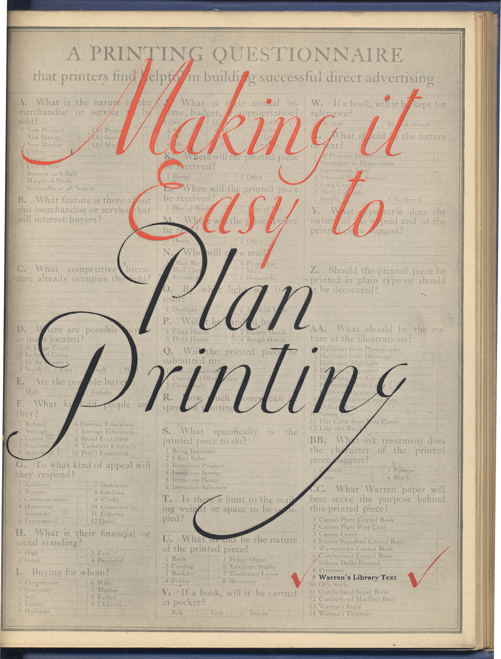 Cover of Making it Easy to Plan Printing [on Warren's Library  Text] (Boston: S.D. Warren Co., 1922). Design and lettering by W.A. Dwiggins.