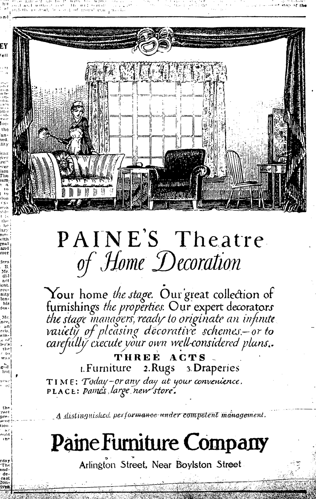 """Paine's Theatre of Home Decoration"" advertisement (October 10, 1916). Illustration and lettering by W.A. Dwiggins."