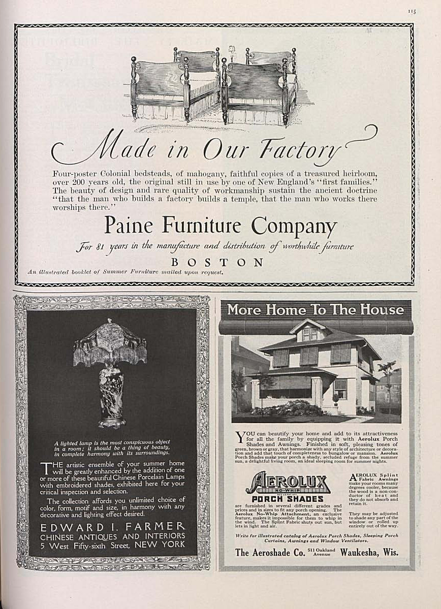 """Made in Our Factory"" advertisement for Paine Furniture Company in Vogue (May 1916). Design, illustration and lettering by W.A. Dwiggins."