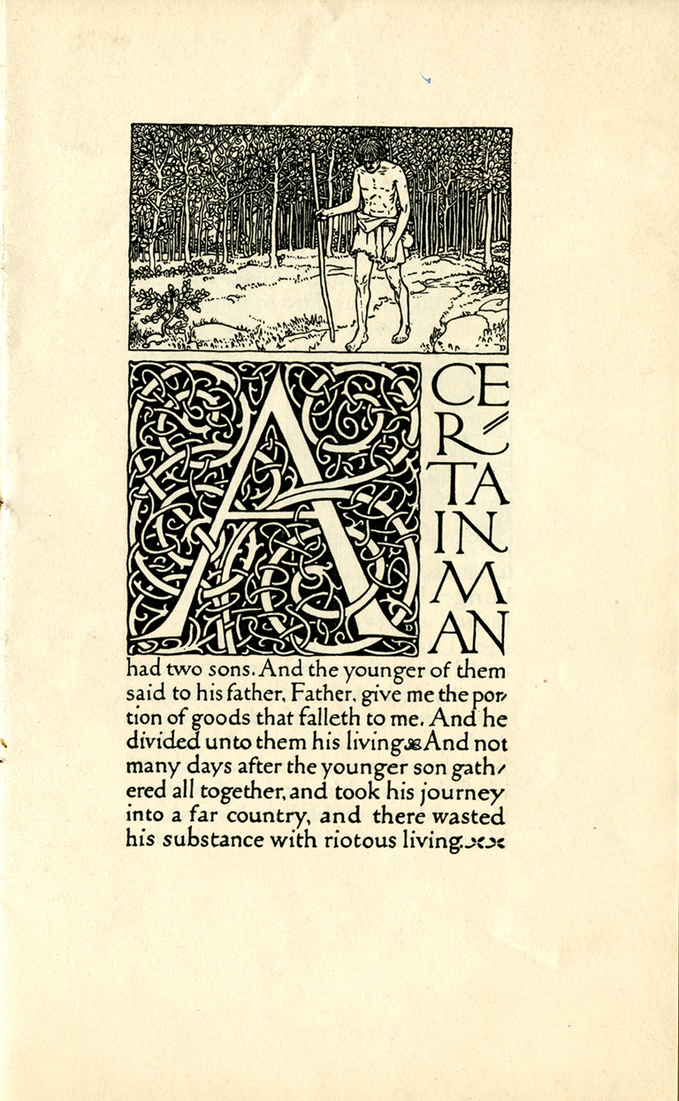 Opening page of The Parable of the Prodigal Son (Boston: Alfred Bartlett, 1906). Illustration, decorative initial and hand lettered text by W.A. Dwiggins.