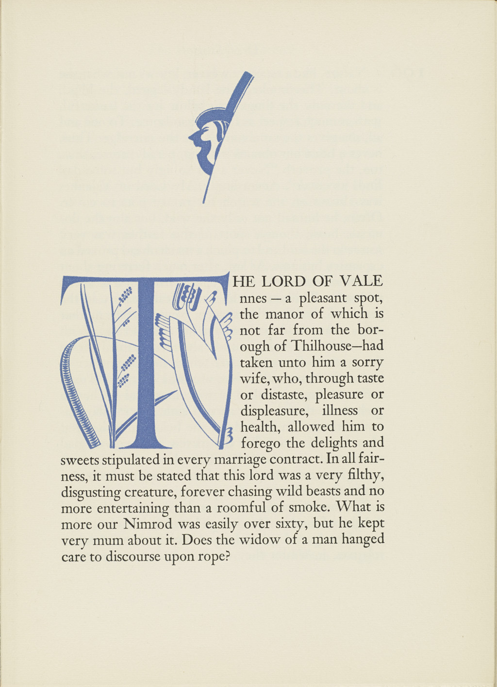 Chapter opening from volume II of Droll Stories by Honoré de Balzac (New York: The Limited Editions Club, 1932). Illustration, initial and typography by W.A. Dwiggins.