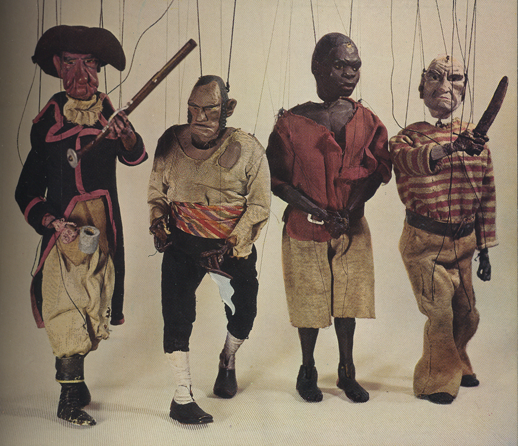Pirate marionettes from gthe Mystery of the Blind Beggarman, or billy Brown's. Marionette designs by W.A. Dwiggins.