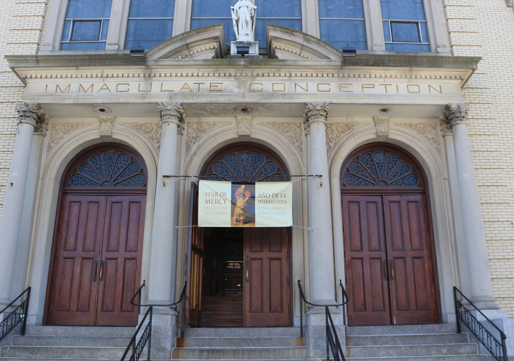 Facade of Immaculate Conception Church Capuchin Friars in the Bronx. Photograph by Paul Shaw (2016).