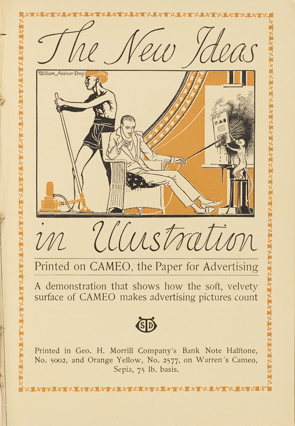 """New Ideas in Illustration"" advertisement by S.D. Warren Co. (Print, vol. V, no. 4, 1915). Illustration and lettering by W.A. Dwiggins."