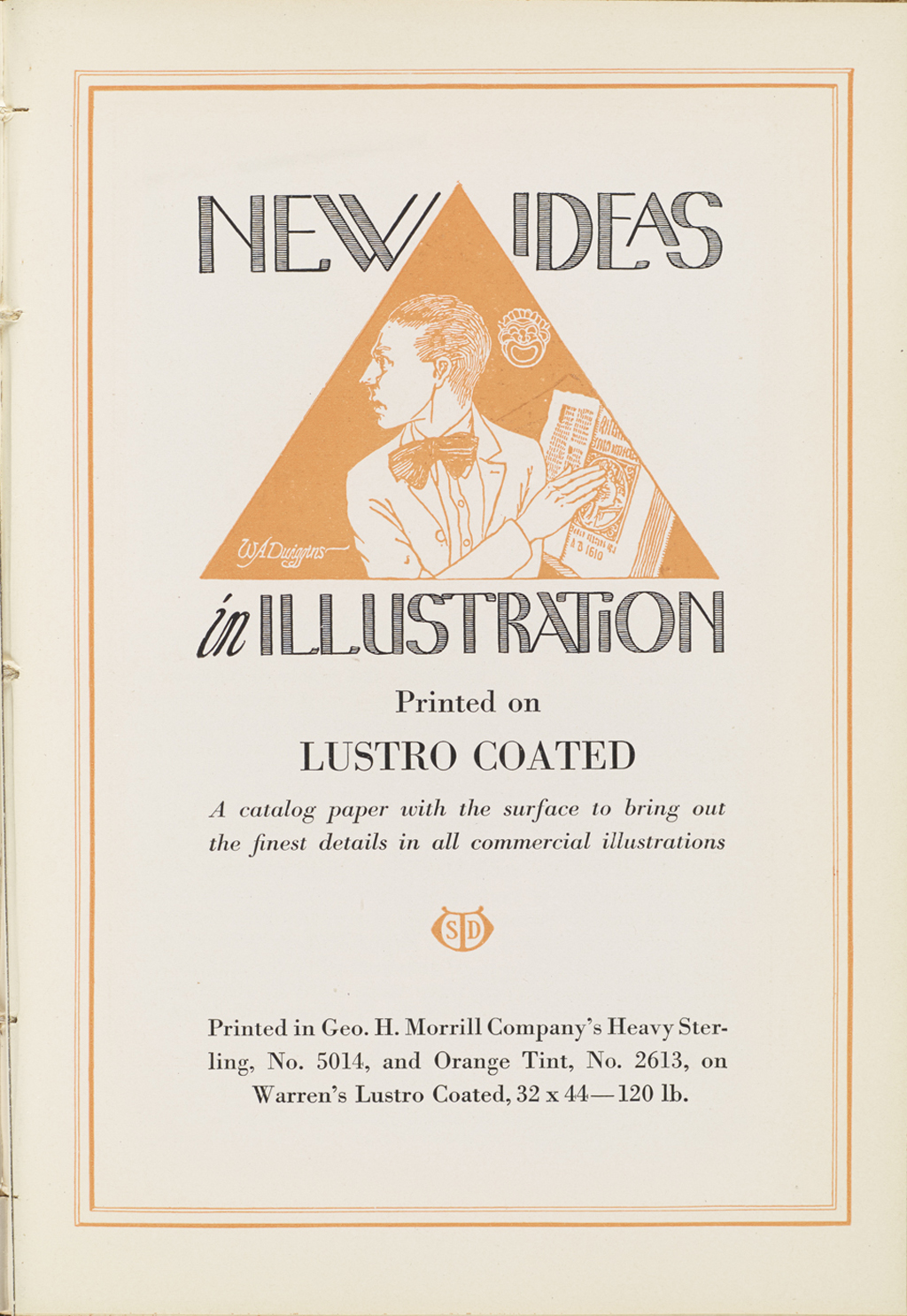 """New Ideas in Illustration"" advertisement by S.D. Warren (1915). Illustration and lettering by W.A. Dwiggins (1914)."