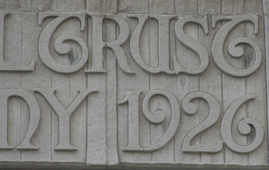 Detail of the cast lettering on the facade of The Federal Trust Company building (1926).