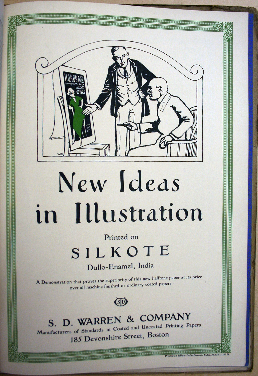 """New Ideas in Illustration"" advertisement for S.D. Warren Co. (Print 1915). Illustration and lettering by W.A. Dwiggins (1914)."