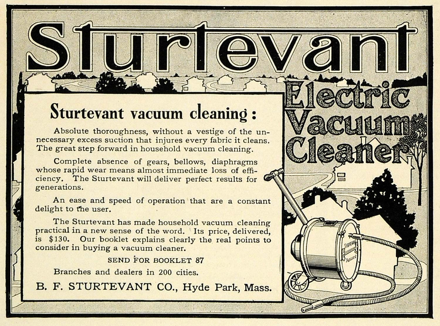 Advertisement (1911) for The Sturtevant Electric Vacuum Cleaner.
