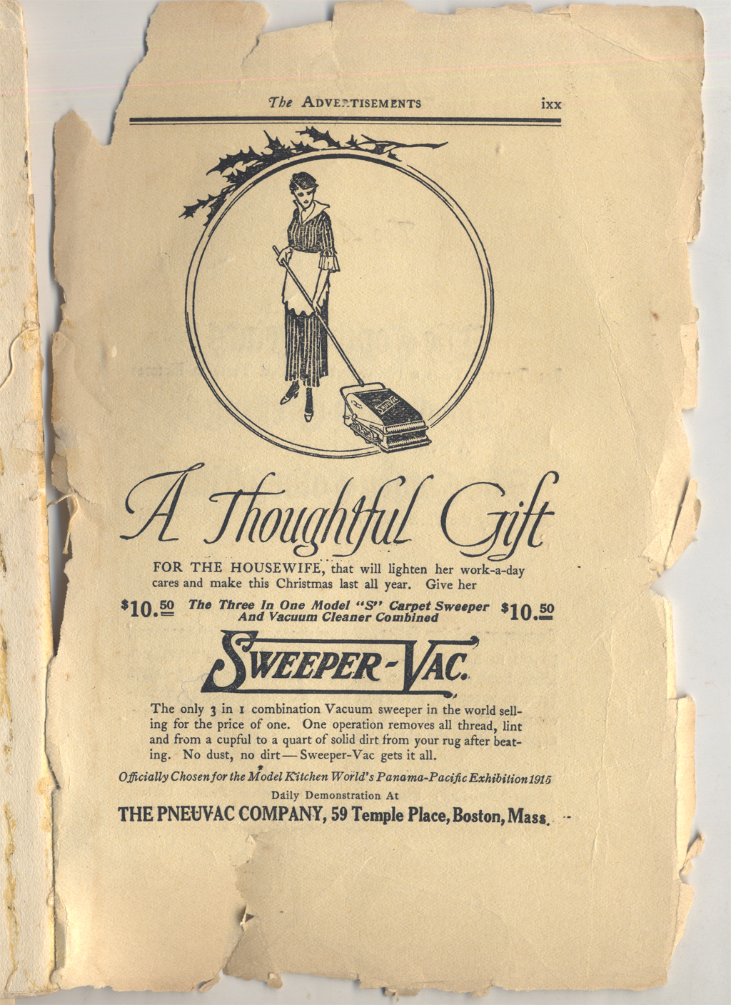 Advertisement for Sweeper Vac. From The Cornhill Booklet (December 1914). Illustration likely by Dwiggins.