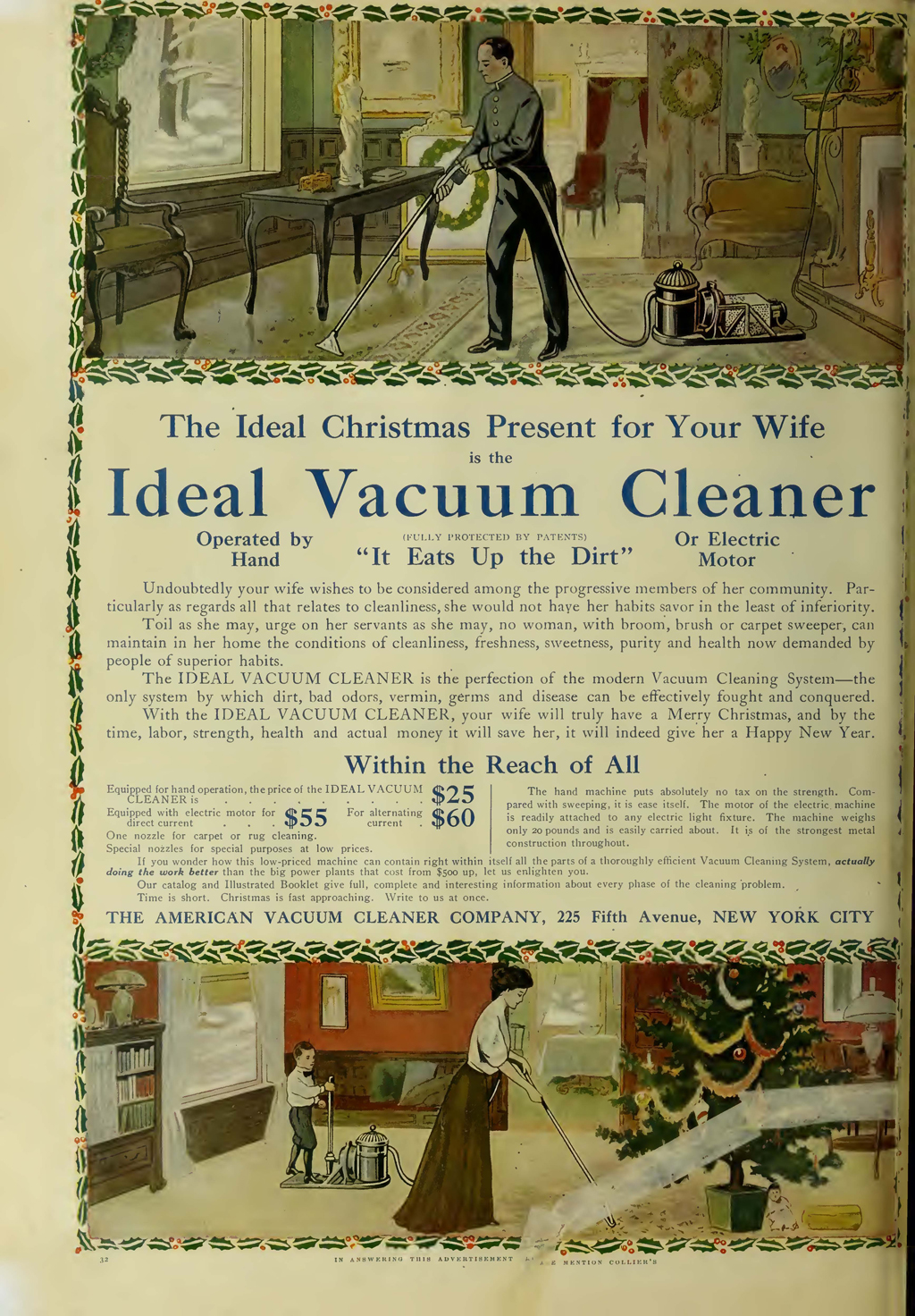 Advertisement for the Ideal Vacuum Cleaner (in Collier's magazine 1909.
