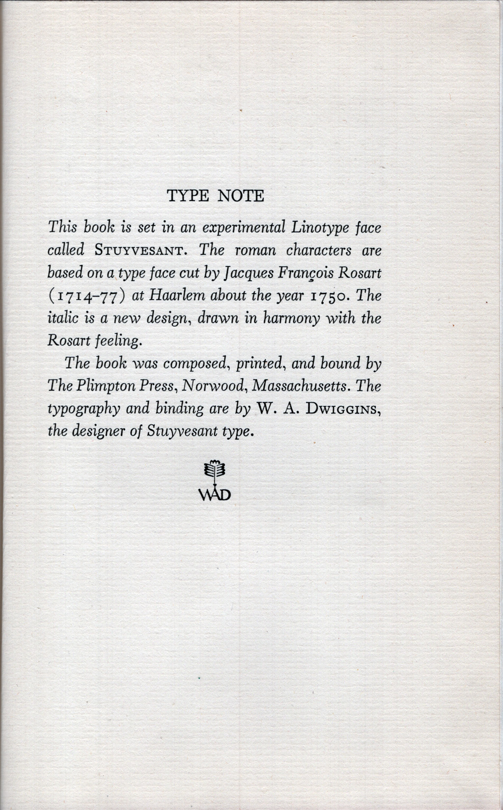 Colophon for The Necessary Angel by Wallace Stevens (New York: Alfred A. Knopf, Inc., 1951).