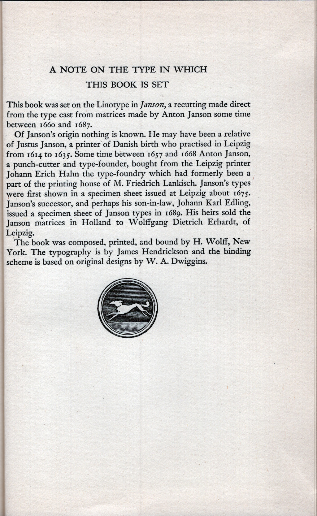 Colophon for The Westward Crossings by Jeannette Mirsky (New York: Alfred A. Knopf, Inc., 1946).
