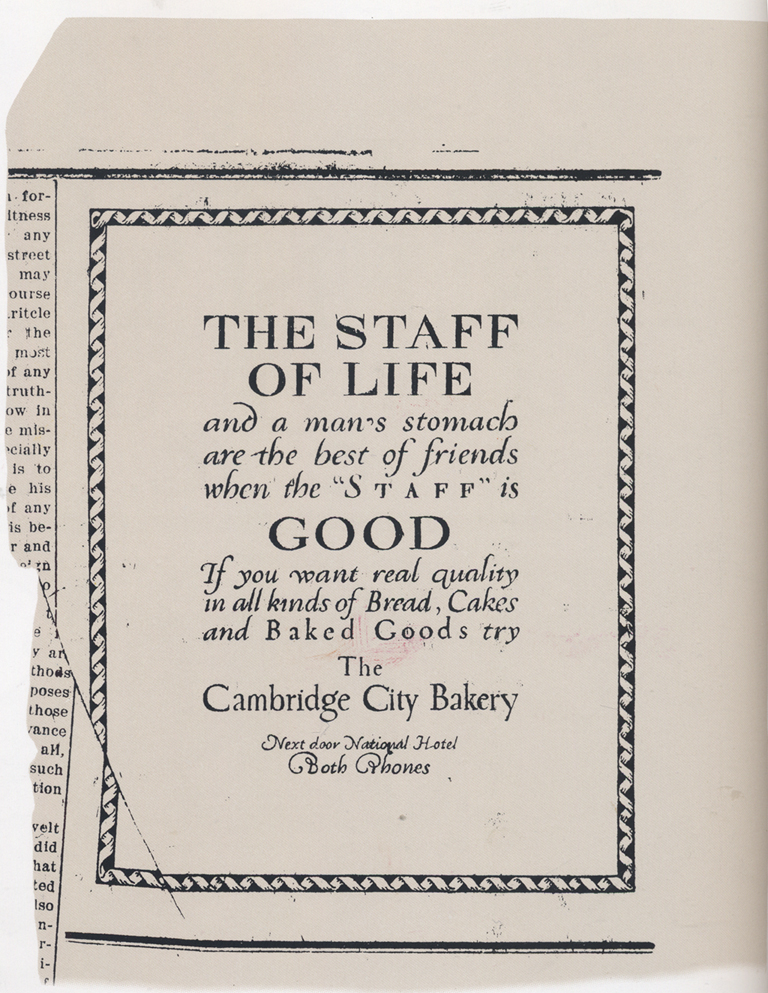 """The Staff of Life"" advertisement for The Cambridge City Bakery. From Goudy by D.J.R. Bruckner (New York: Harry N. Abrams, Publisher, 1992). p."