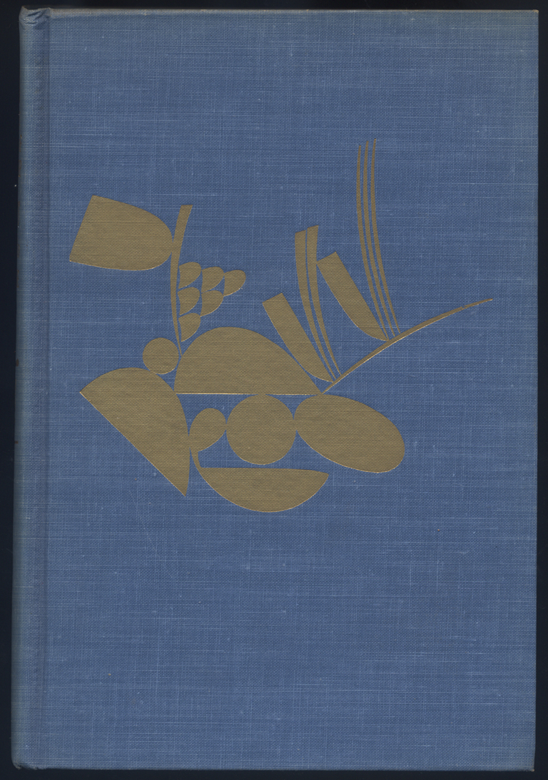 Binding side of The Flowers of Friendship: Letters to Gertrude Stein. Edited by Donald Gallup. (New York: Alfred A. Knopf, 1953). Design and ornament by W.A. Dwiggins.