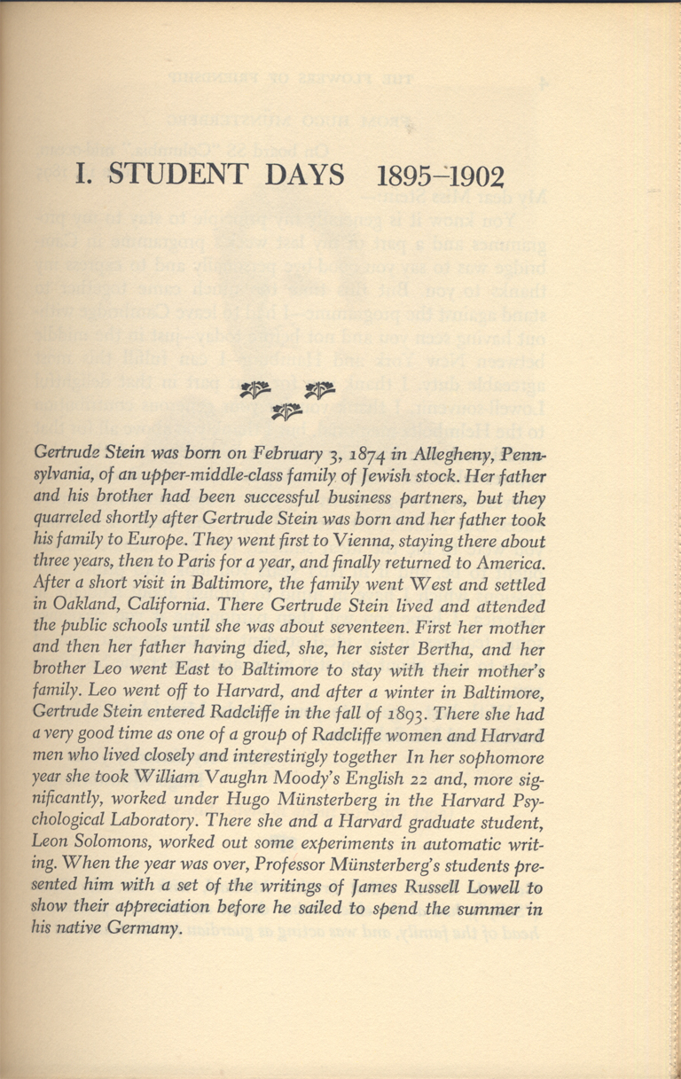 Chapter opening from The Flowers of Friendship: Letters Written to Gertrude Stein. Edited by Donald Gallup. (New York: Alfred A. Knopf, 1953). Typography by W.A. Dwiggins.