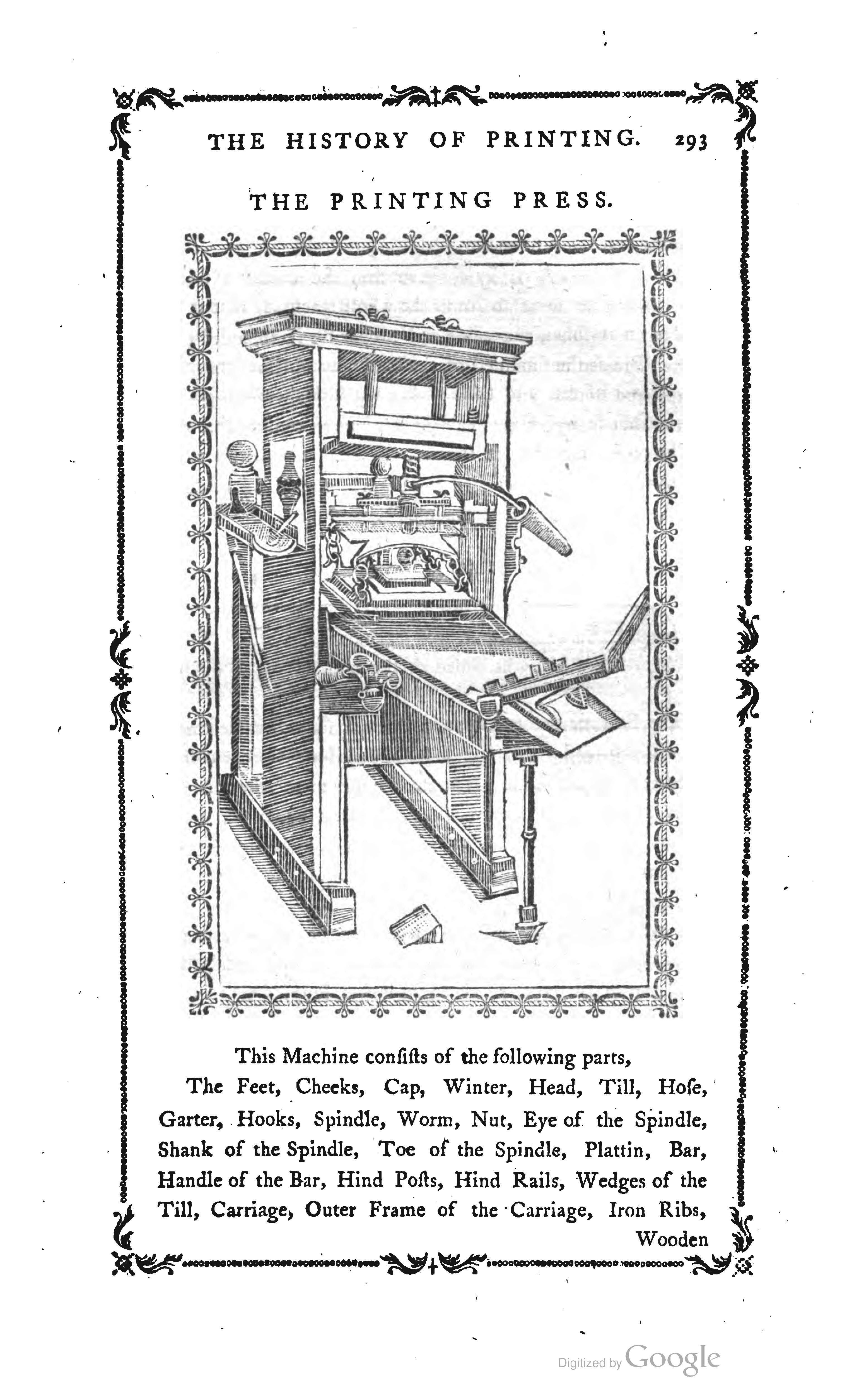Illustration from The History and Art of Printing by Philip Luckombe (London: J. Johnson, 1771), p. 293.