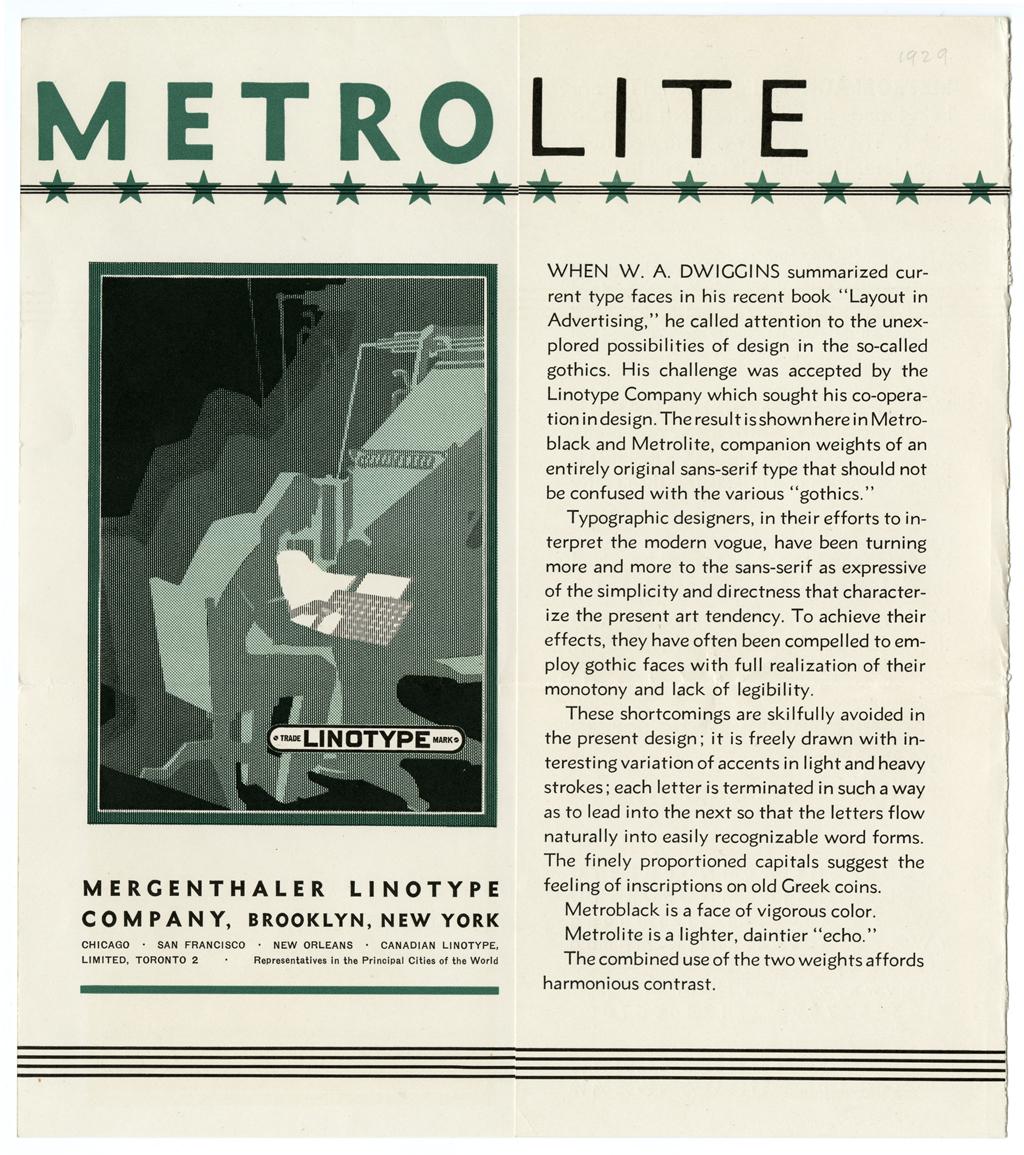 Metrolite and Metroblack type specimen (c.1929). Courtesy of the California Historical Society.