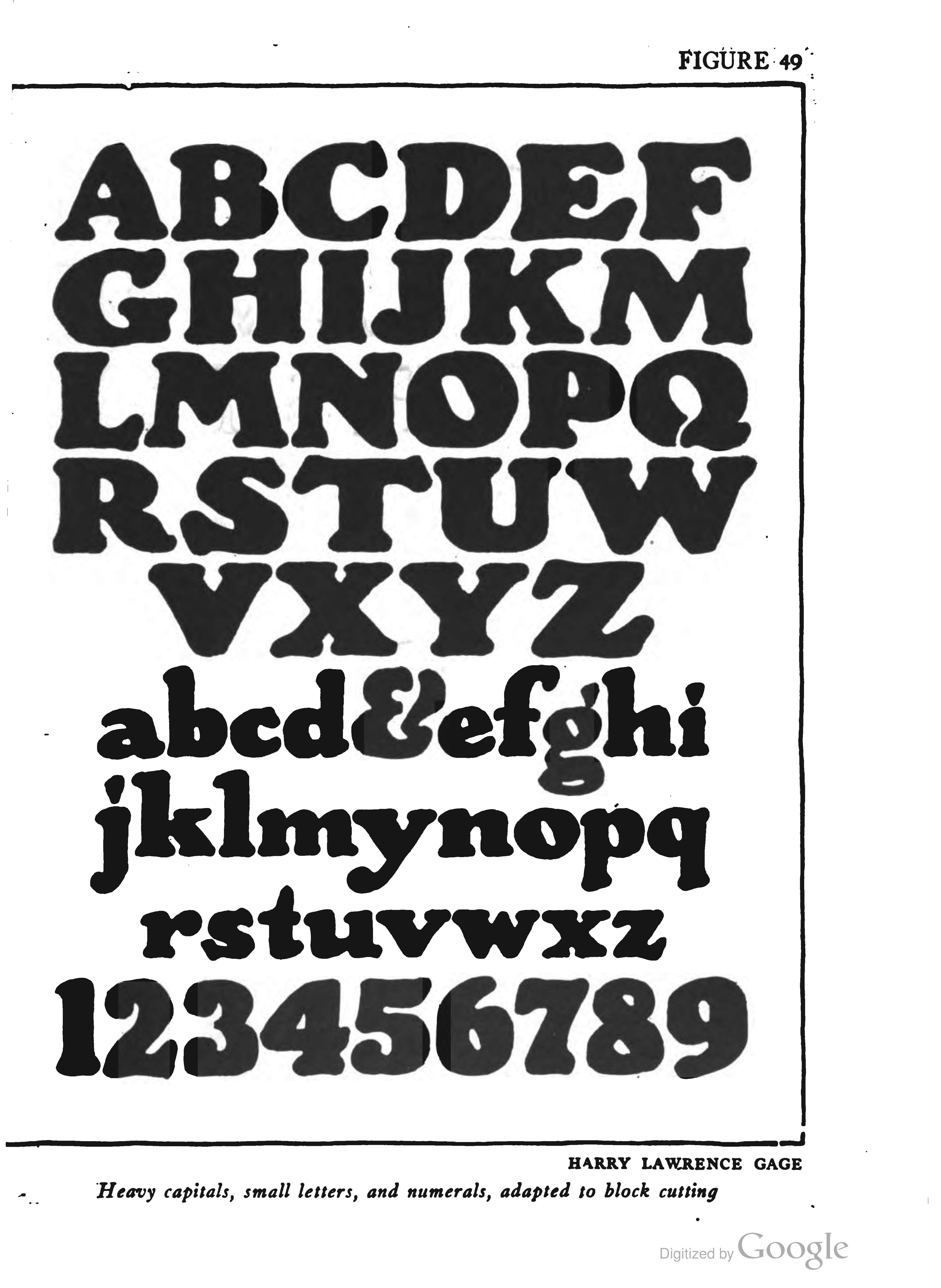 Figure 49—Heavy capitals, small letters, and numerals, for block cutting by Harry Lawrence Gage. From Lettering by Thomas Wood Stevens (New York: The Prang Company, 1916).